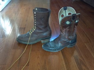 L-R My Packer Boots, My Tony Llama riding boots