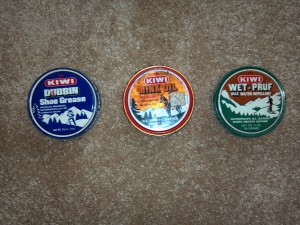 L-R Kiwi Shoe Grease, Kiwi Mink Oil, Kiw Wet-Pruf Wax Treatment